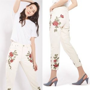 TopShop Rose Embroidered High Waist Mom Jeans